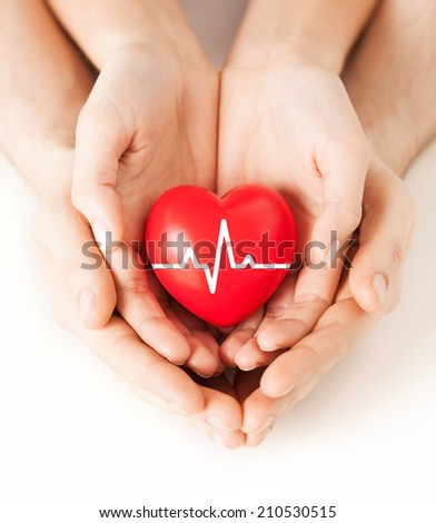 health, medicine and charity concept - closeup of couple hands holding red heart with ecg line #210530515