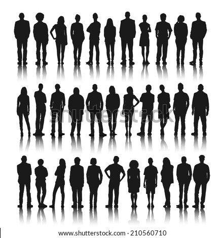 Silhouette Group of People Standing Royalty-Free Stock Photo #210560710