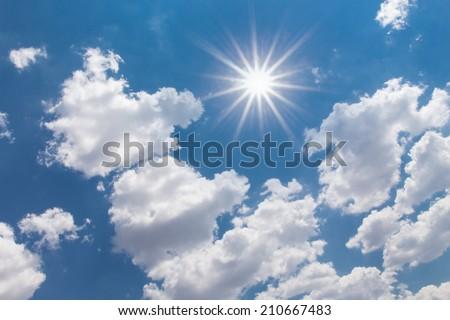 Image of Sun Shining Between Clouds. #210667483