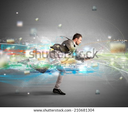 Concept of fast internet with running businessman with a laptop #210681304