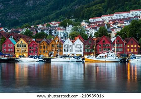 BERGEN, NORWAY - CIRCA AUGUST 2014: World famous Bryggen buildings in historical part of Bergen, Norway. UNESCO world heritage.  #210939016