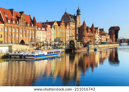 Ships at the Harbor of Motlawa river with old town of Gdansk, Poland #211016743