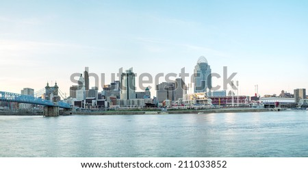 Cincinnati downtown panoramic overview in the evening