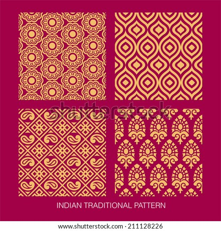 Indian pattern collection. come with layers. Royalty-Free Stock Photo #211128226
