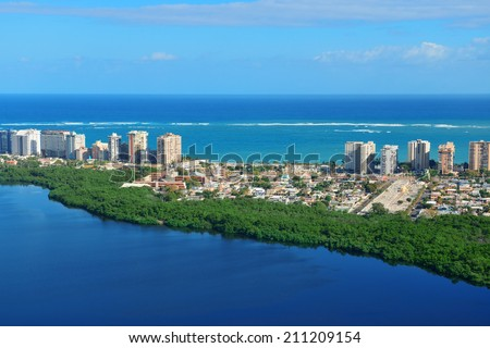 San Juan aerial view with blue sky and sea. Puerto Rico. Royalty-Free Stock Photo #211209154
