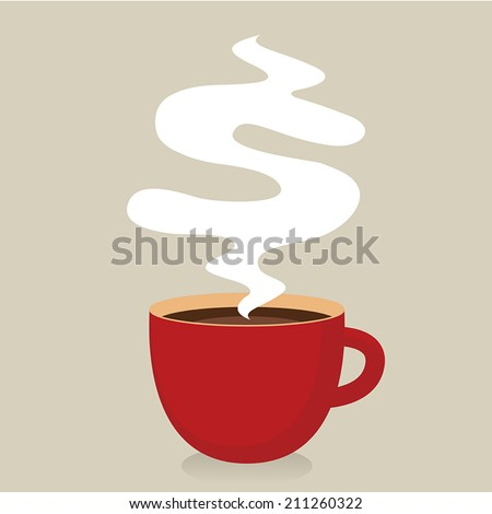 Red cup of coffee with smoke, Idea concept #211260322