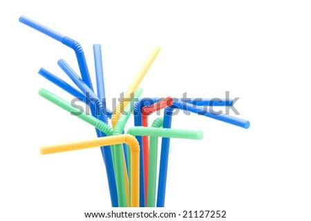 object on white - utensil drinking straws #21127252