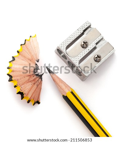 Pencil and pencil sharperner on white paper background Royalty-Free Stock Photo #211506853