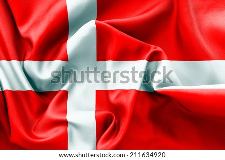 Danish flag texture crumpled up #211634920