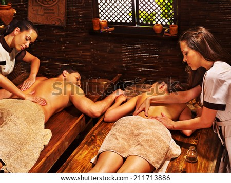 Couple  having oil Ayurveda spa treatment. #211713886