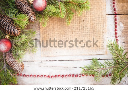 Christmas background on a wooden rustic old table #211723165