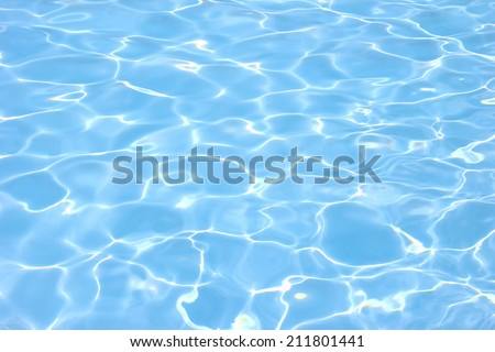 Rippling water in a pool. Bright blue water background #211801441