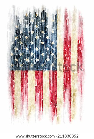 t-shirt graphics / Vintage watercolor of American flag, Photo illustration / men's t-shirt illustration