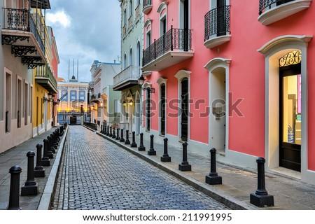 Street in old San Juan, Puerto Rico Royalty-Free Stock Photo #211991995