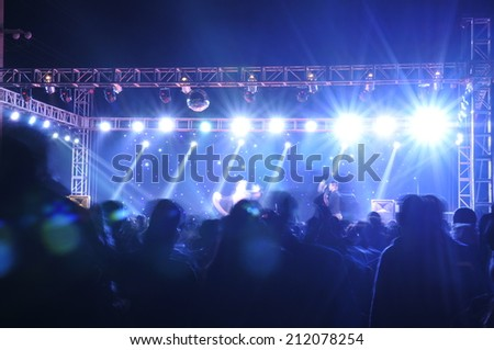The stage lighting effect in the dark  #212078254