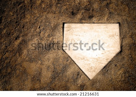 Home plate on baseball field with copy space Royalty-Free Stock Photo #21216631