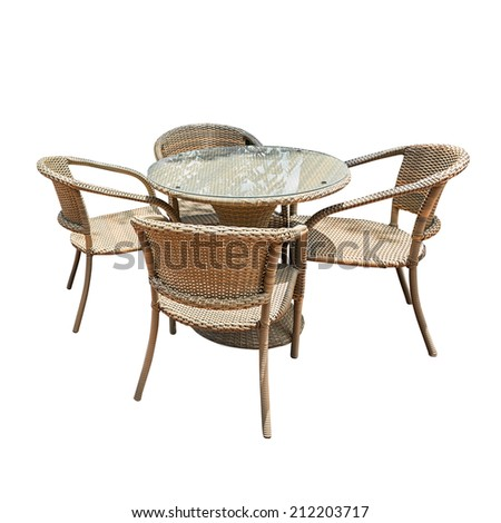 Rattan table and chair isolated on white #212203717
