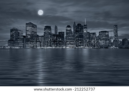 Panoramic view New York City Manhattan downtown skyline at night with skyscrapers and blue tonality #212252737