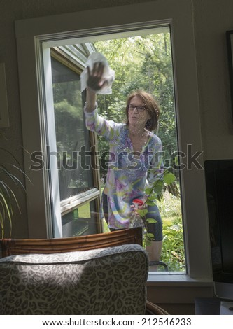 woman washing window from outside of house #212546233