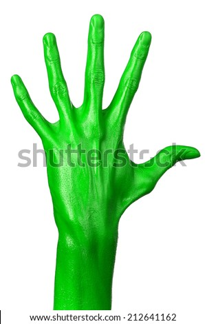 Green hand on white background, isolated, paint #212641162
