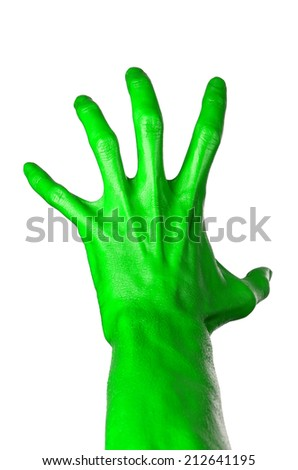 Green hand on white background, isolated, paint #212641195