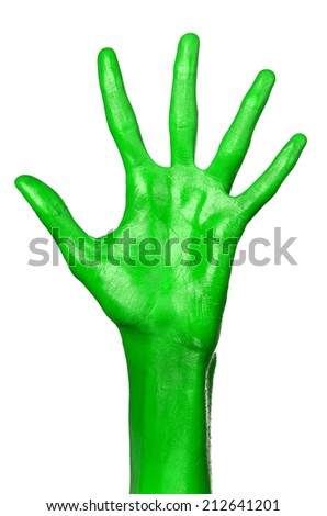 Green hand on white background, isolated, paint #212641201