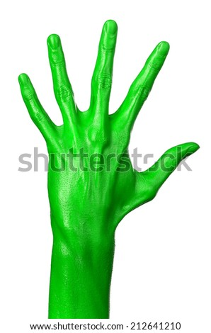 Green hand on white background, isolated, paint #212641210