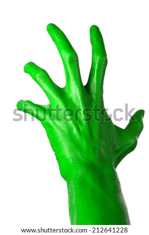 Green hand on white background, isolated, paint #212641228