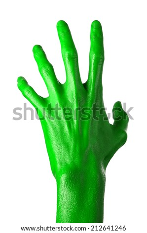 Green hand on white background, isolated, paint #212641246