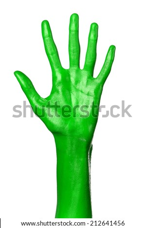 Green hand on white background, isolated, paint #212641456