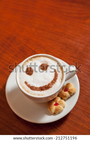 Decorated Cappuccino cup - Smiling Coffee #212751196