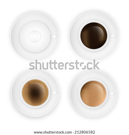 coffee cup assortment top view collection.  Vector eps10 illustration #212806582