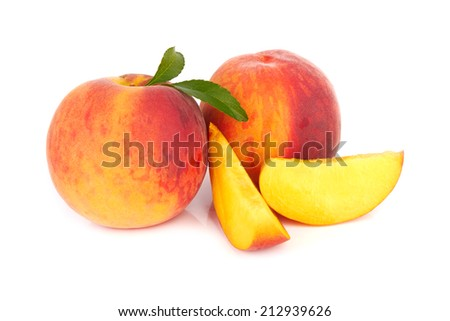 Fresh sweet peach on a white background #212939626