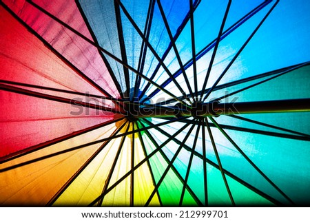 Abstract photography from colourful umbrella