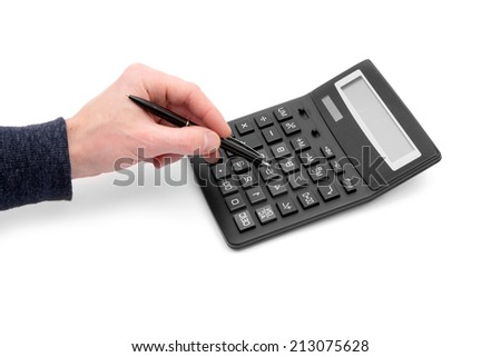 Calculator with hand on white #213075628