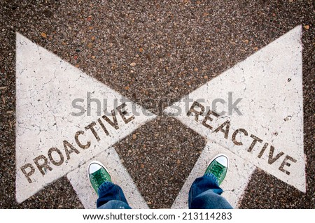Proactive and reactive dilemma concept with man legs from above standing on signs