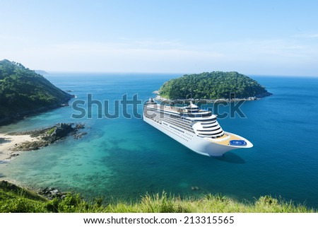 Cruise Ship in the Ocean with Blue Sky Royalty-Free Stock Photo #213315565
