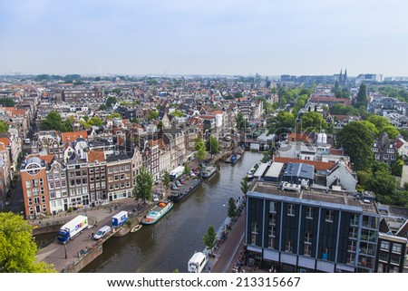 Amsterdam, Netherlands, on July 10, 2014. A view of the city from a survey platform of Westerkerk #213315667