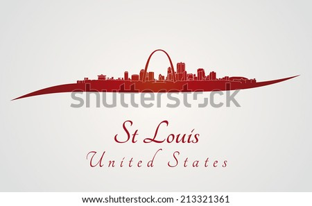 St Louis skyline in red and gray background in editable vector file