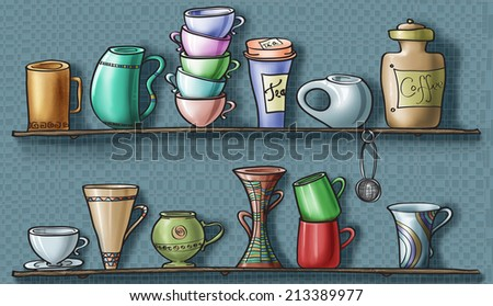Various mugs and cups, a coffee jar, a tea box and a filter ball on wood shelves / Mugs and cups shelves / digital