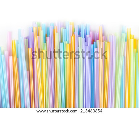 Drinking straw colorful plastic tubes over white as abstract background #213460654