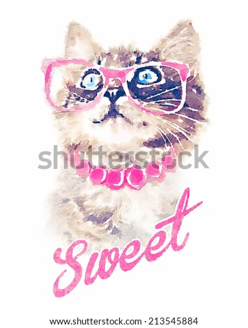T-shirt graphics/cute cat illustration/watercolor cat/cat poster/cat graphics for textiles/princess cat design/adorable cute cat/tabby cat/Funny cat/cat print/sweet cat/pretty cat/animal pattern