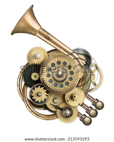 Stylized metal collage of mechanical device. Royalty-Free Stock Photo #213593293