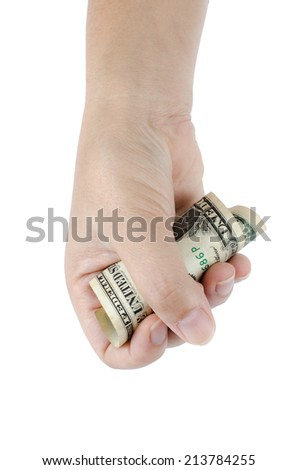 Image of hand hold one dollar on white background #213784255