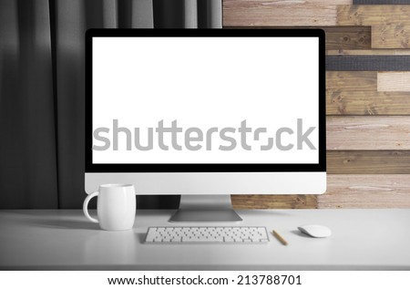Monitor on table Royalty-Free Stock Photo #213788701
