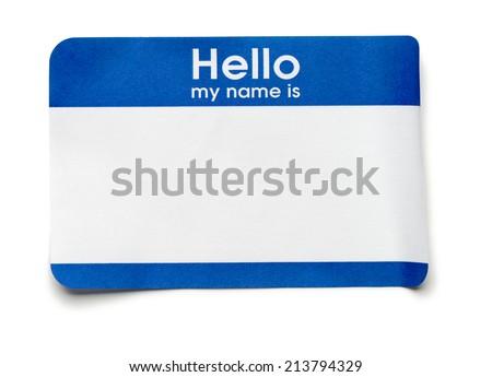 Blue Hello Name Tag on White Royalty-Free Stock Photo #213794329