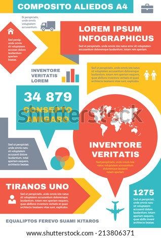 Infographic business concept on vertical A4 format. Vector infograph template design for presentation, booklet, web site etc. Original balanced composition. Creative lauout banner.