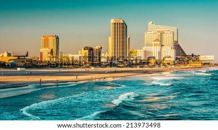 The skyline and Atlantic Ocean in Atlantic City, New Jersey. Royalty-Free Stock Photo #213973498