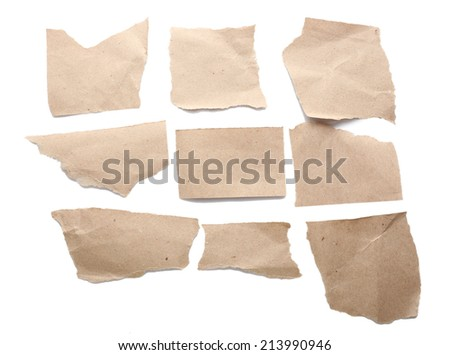 Torn blank papers isolated on white #213990946