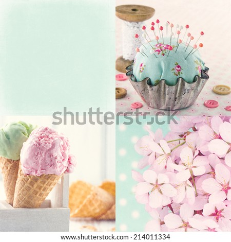 Pink and light blue tone collage of flowers and vintage decorative items and backgrounds with copy space and textured scratchy editing #214011334